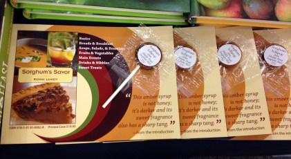 We gave away sorghum lollipops and recipes for the SIBA scavenger hunt!