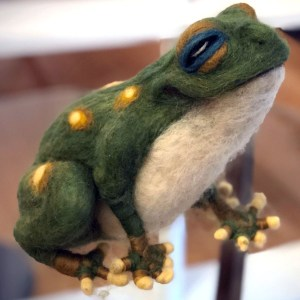 Needle Felted Frog with Gin Blische