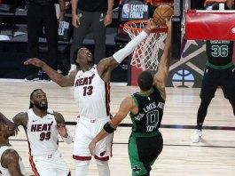 Adebayo's block helps Heat win Game 1 over Celtics