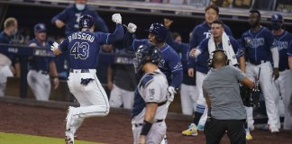 Brosseau homer off Chapman lifts Rays over Yanks, into ALCS