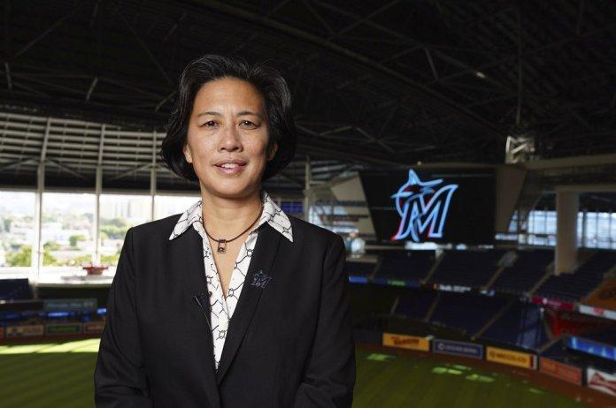 new Miami Marlins general manager Kim Ng poses for a photo at Marlins Park stadium