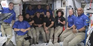 Biggest space station crowd in decade after SpaceX arrival