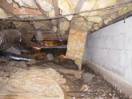 wet insulation in damp crawl space
