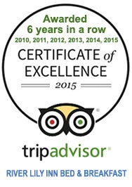 The River Lily Inn Has Received the Trip Advisor Certificate of Excellence!