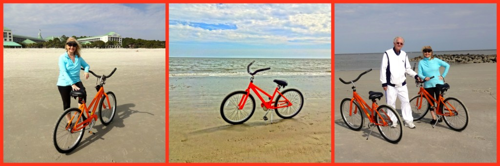 Riding Our Orange Rental Bicycles on the Beach on Hilton Head Island