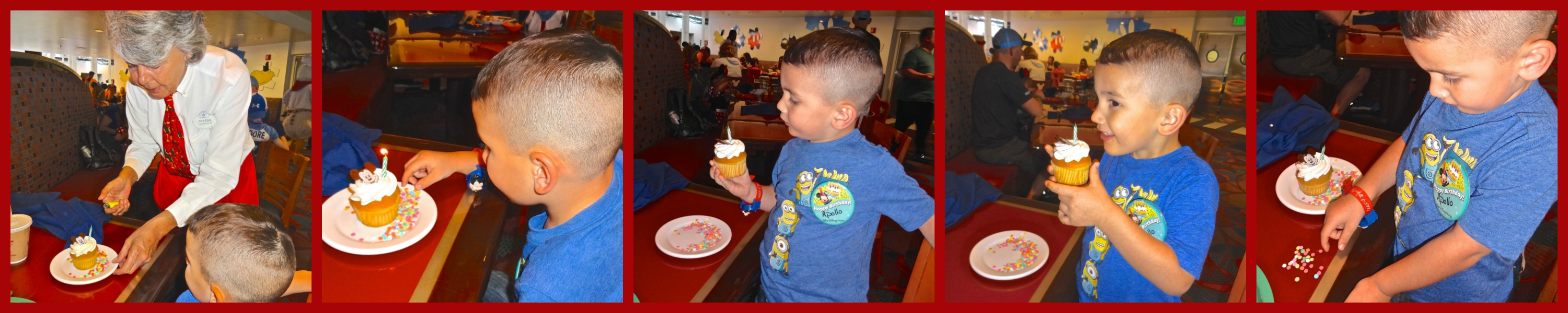 Apollo's Birthday Cupcake at Chef Mickey's with Candy Confetti