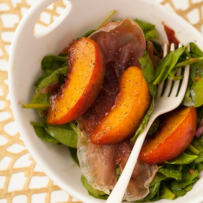 Grilled Peaches and Spinach and Prosciutto, salad, summer salad, Sur La Table, cooking class, date night