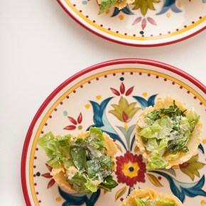 caesar salad baskets, caesar salad, entertaining, appetizer