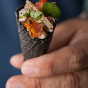 ceviche in squid ink cones, ceviche, squid ink cones, swiss chalet fine foods, tapas, appetizer, entertaining, seafood