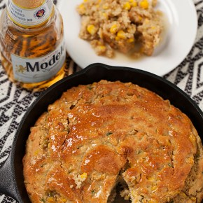 jalapeno beer cornbread, spicy, Mexican cooking, Modelo beer