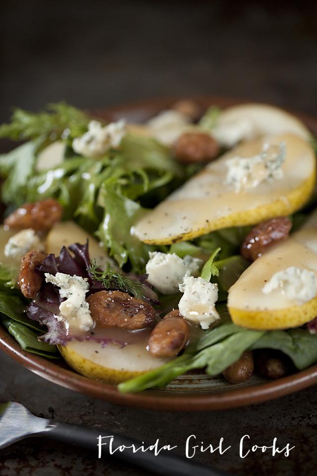 gorgonzola pear salad, salad, fall salad, vegetarian, healthy