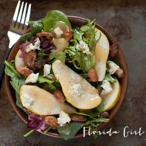 gorgonzola pear salad, salad, fall salad, vegetarian, healthy