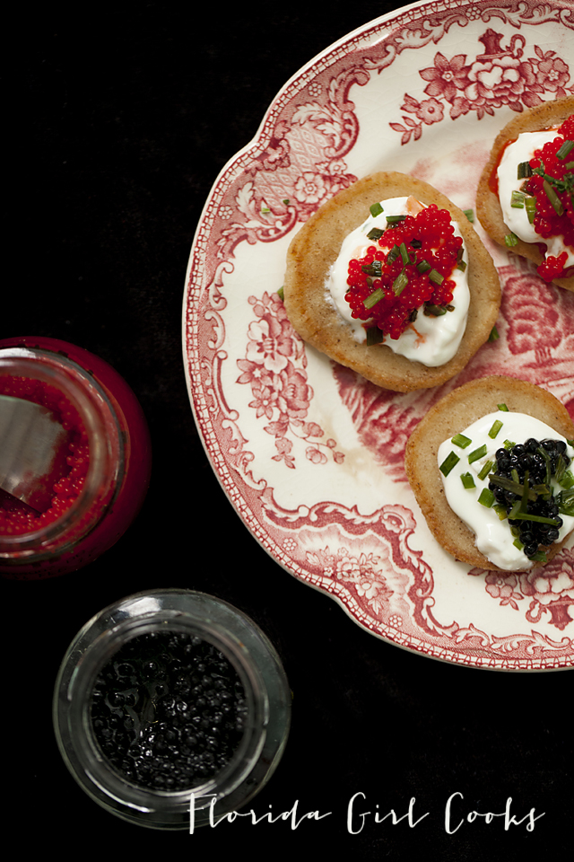 yeasted blinis with creme fraiche and caviar, yeasted blinis, new years even entertaining, entertaining, appetizer, finger food, seafood, caviar
