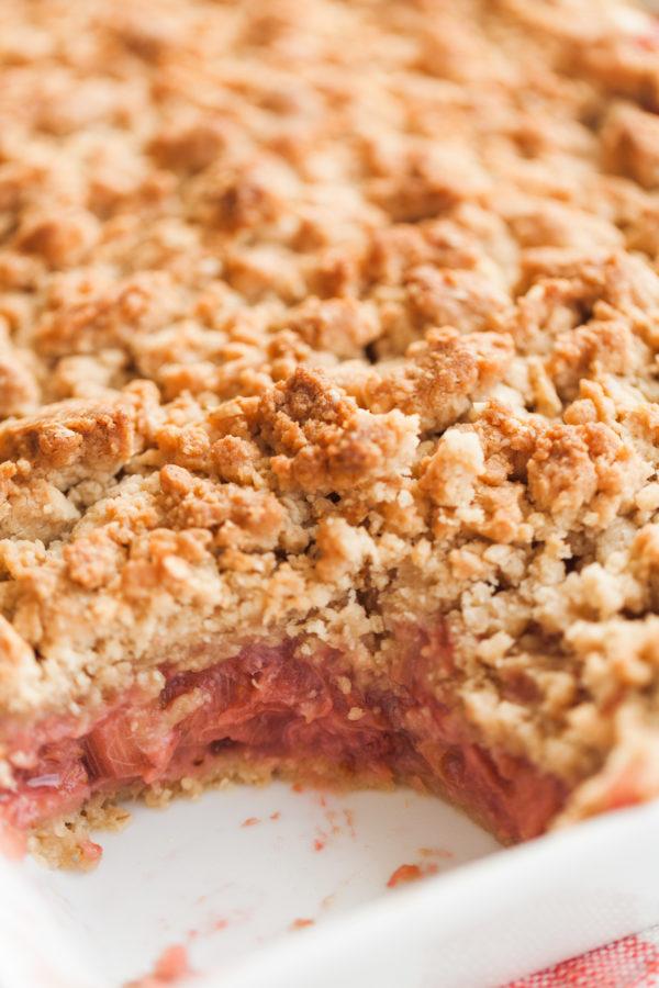 strawberry-rhubarb crisp, crisp, dessert, summer dessert, summer baking, home baked goods, baking, florida girl cooks