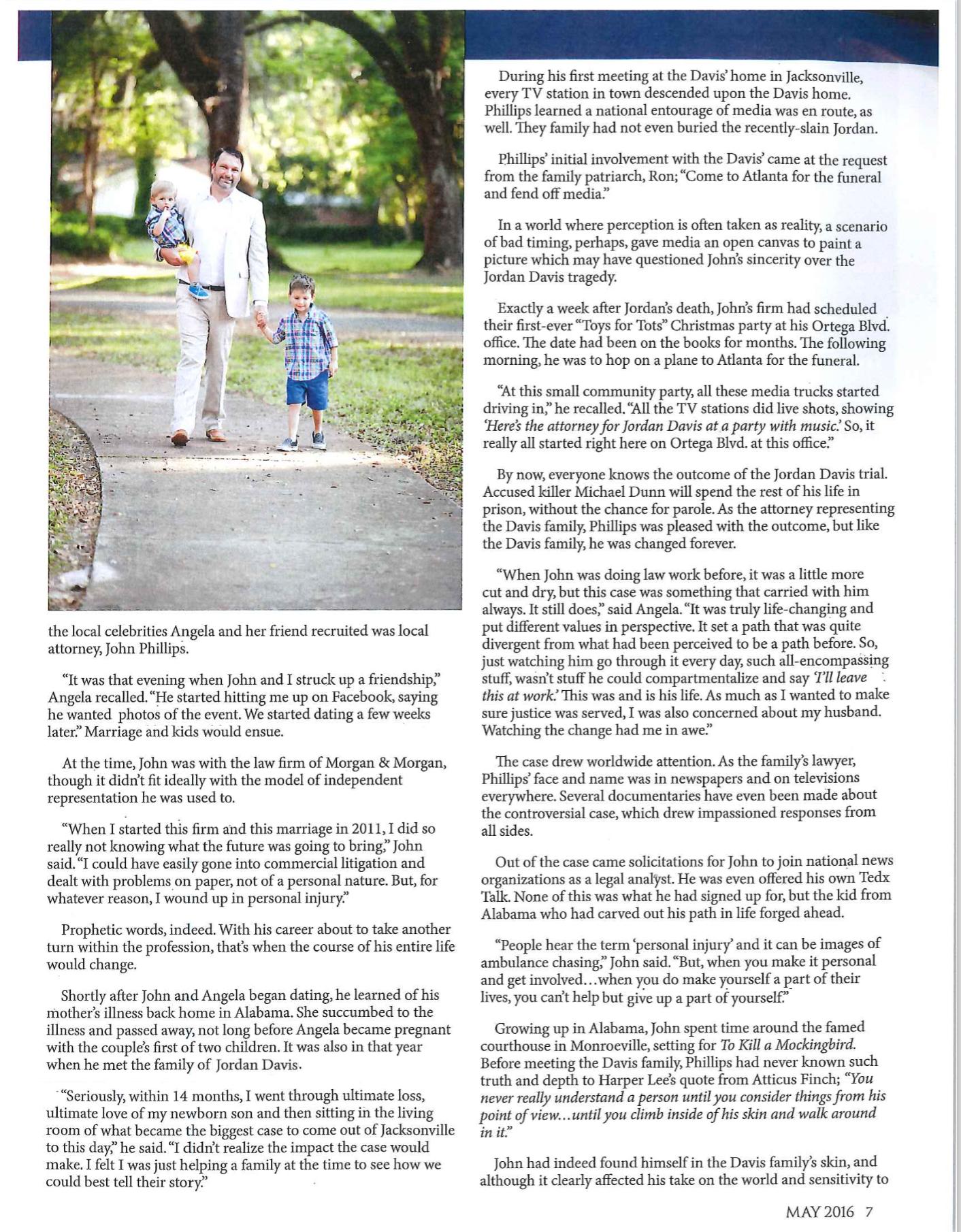 John's family featured in Ortega Magazine - Florida Justice