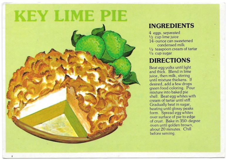 Key Lime Pie Recipe Postcard