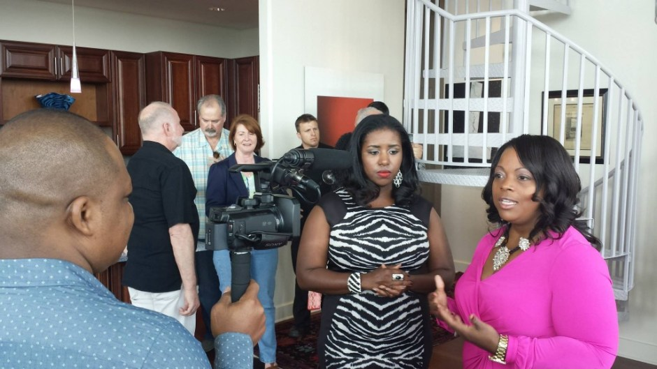"""Having Our Say"" principal actresses Chrystol Ingram (left) and Yolanda Cade interview during the ""Having Our Say"" press party in March. Source: Florida National News."