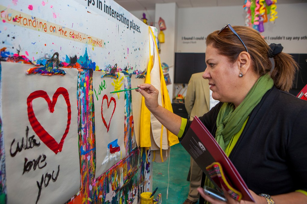 Marisol Peraza Simon, Director of Ministry of Culture - North America, joined members of her country's nine-person arts delegation at the Morean Arts Center's children studio.