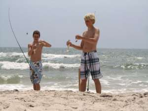 Catching whiting in the surf on St. George's Island