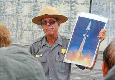 Ranger Howell with photo of Nike missile launch