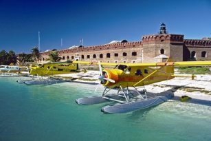 One mode of transportation to Fort Jefferson is by seaplane