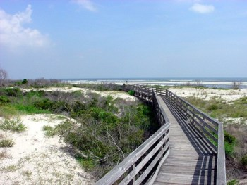 Boardwalk to the beach at Little Talbot State Park