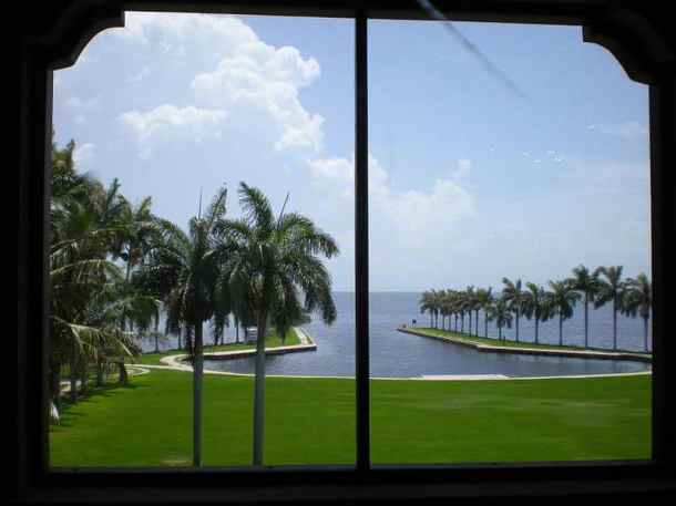 Deering Estate boat basin viewed from the Stone House