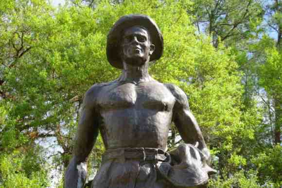 A statue in front of the Civilian Conservation Corps Museum at Highland Hammocks State Park.