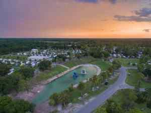 aerial view of Wekiva Falls RV Resort at sunset