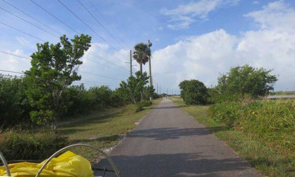 View over the handlebars on the Florida Keys Overseas Heritage Trail.