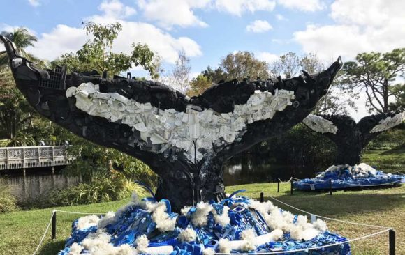 Two humpback whale sculptures are on exhibit in Washed Ashore. (Photo: Bonnie Gross)