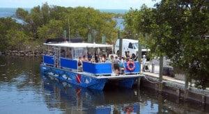 Boat leaves for snorkeling trip at Biscayne National Park