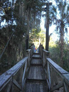 Suspension bridge at Paynes Creek Historic State Park