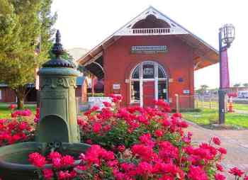 The historic train station and visitor center in Fernandina Beach on Amelia Island.