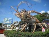 Giant lobster at entrance to Rain Barrel Village in the Florida Keys