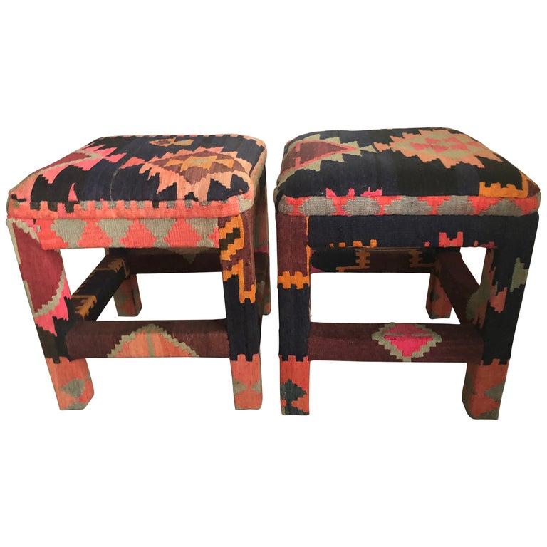 vintage pair of kilim rug boho benches stools ottomans