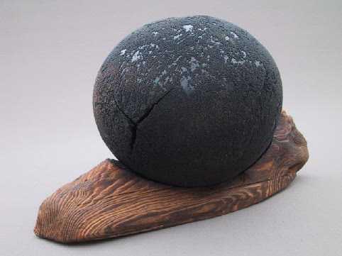 """Black Planet"" on Base Poplar Hollow Form"
