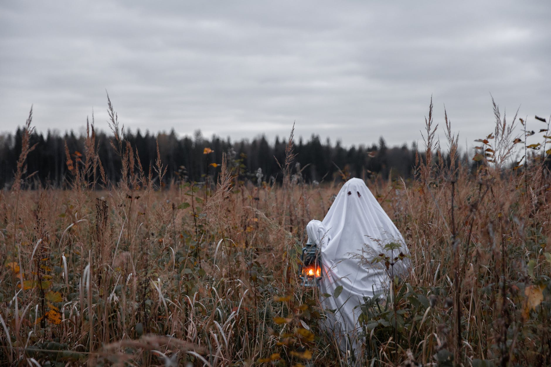 person in ghost costume standing in a grass field with a lantern