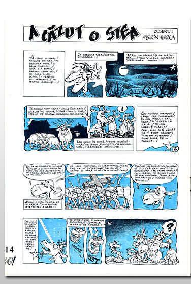 Pagina de stânga a benzilor desenate apărute în revista Alo. Desene: Florin Florea
