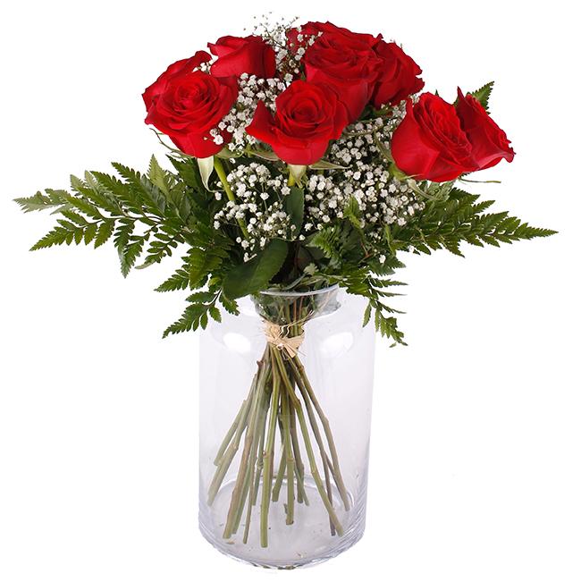 TENTACIÓN Ramo de Rosas Rojas romántico y elegante, compuesto por rosas rojas de tallo medio acompañado de gypsophila y eucalipto. Floristería Pétalos, Tienda Online. Alcalá de Henares, Madrid.