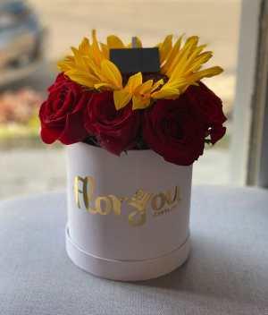 Caja de rosas y girasoles - Envía flores a domicilio en Tijuana