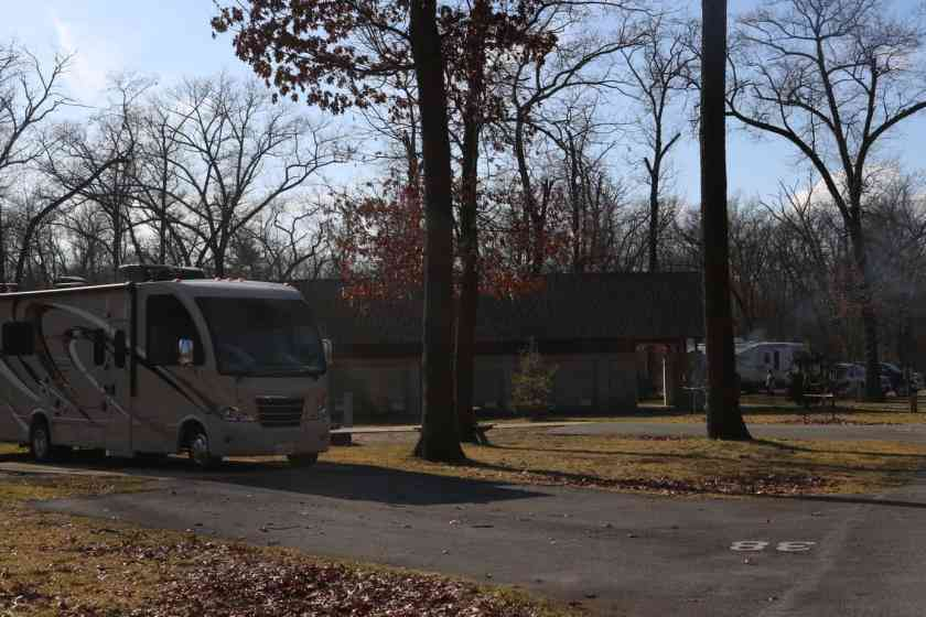 RV parked at Indiana Dunes State Park campground