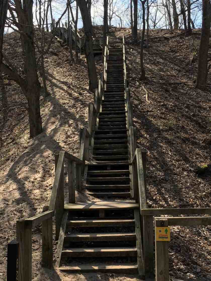Stairs leading to the top of Mt. Tom