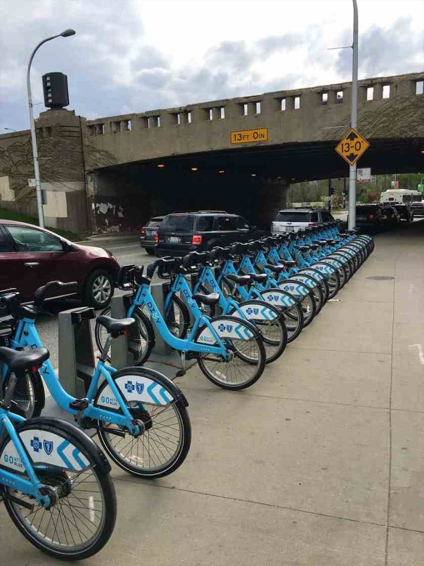Theres DIVVY Bike Stations all along the Lakeshore Trail