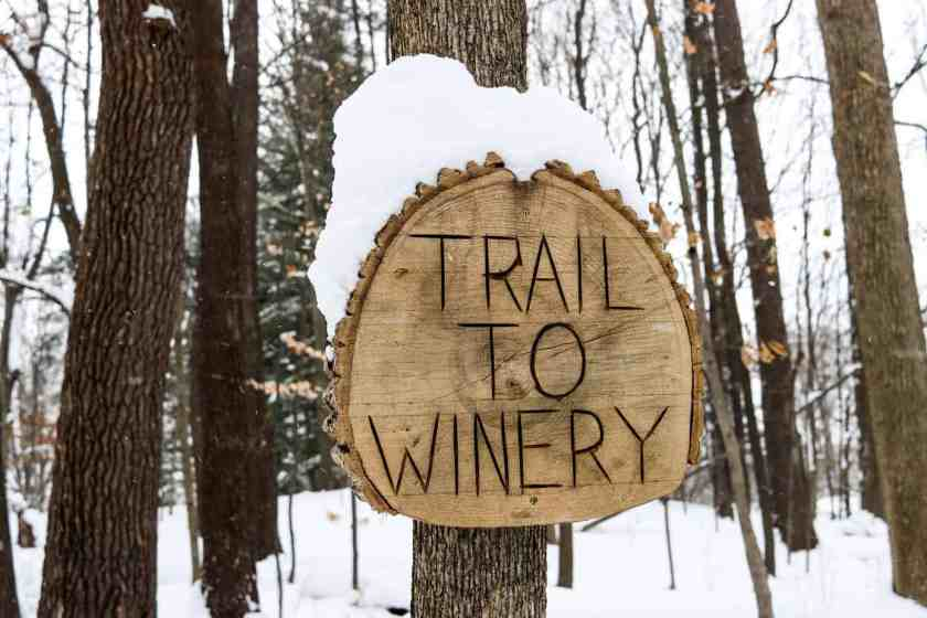 Sign saying trail to winery