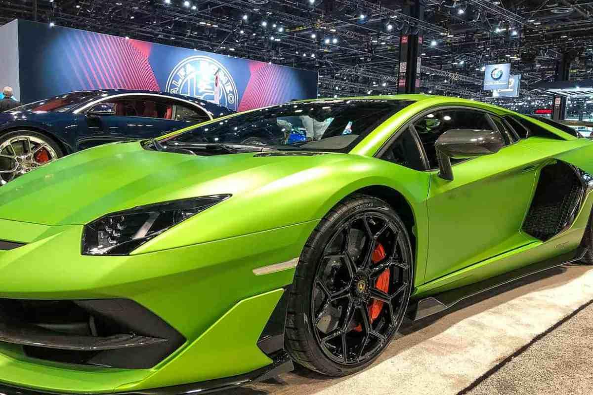 Green Lamborghini on an auto show floor