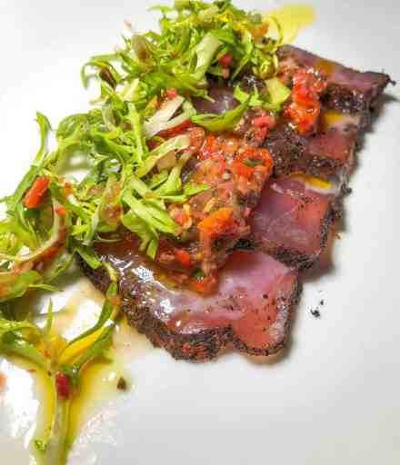 Fabio Viviani's Yellowfin Tuna topped with frisee salad