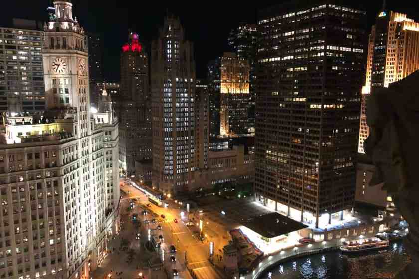 Night view of Chicago Skyline