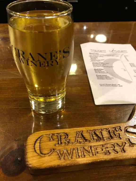 Glass of wine at Crane's Winery