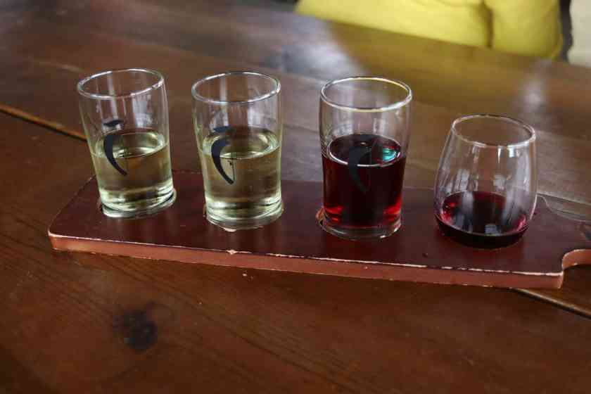 Different wines in glasses for sampling at Crane's Winery